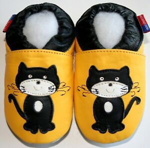 Minishoezoo cat black yellow 12-18m leather indoor first walking shoes slippers