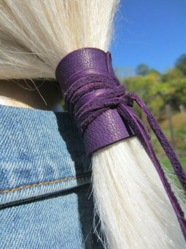 Leather Hair Tie Wrap Ponytail Holder Cuff Bohemian Clothing Purple Black Brown