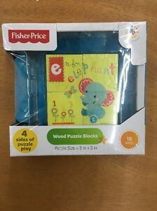 4 Side Fisher Price Wood Wooden Puzzle Blocks Block 18 months Learning Game NEW
