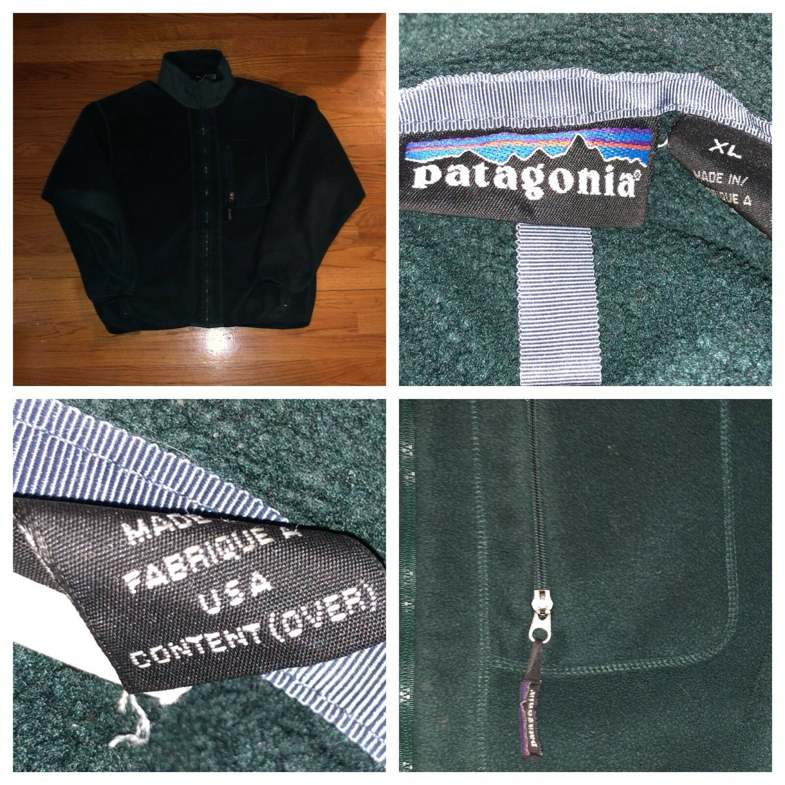 Vtg Patagonia Men's Full Zip Grün Fleece Sweater Größe XL Made In The USA