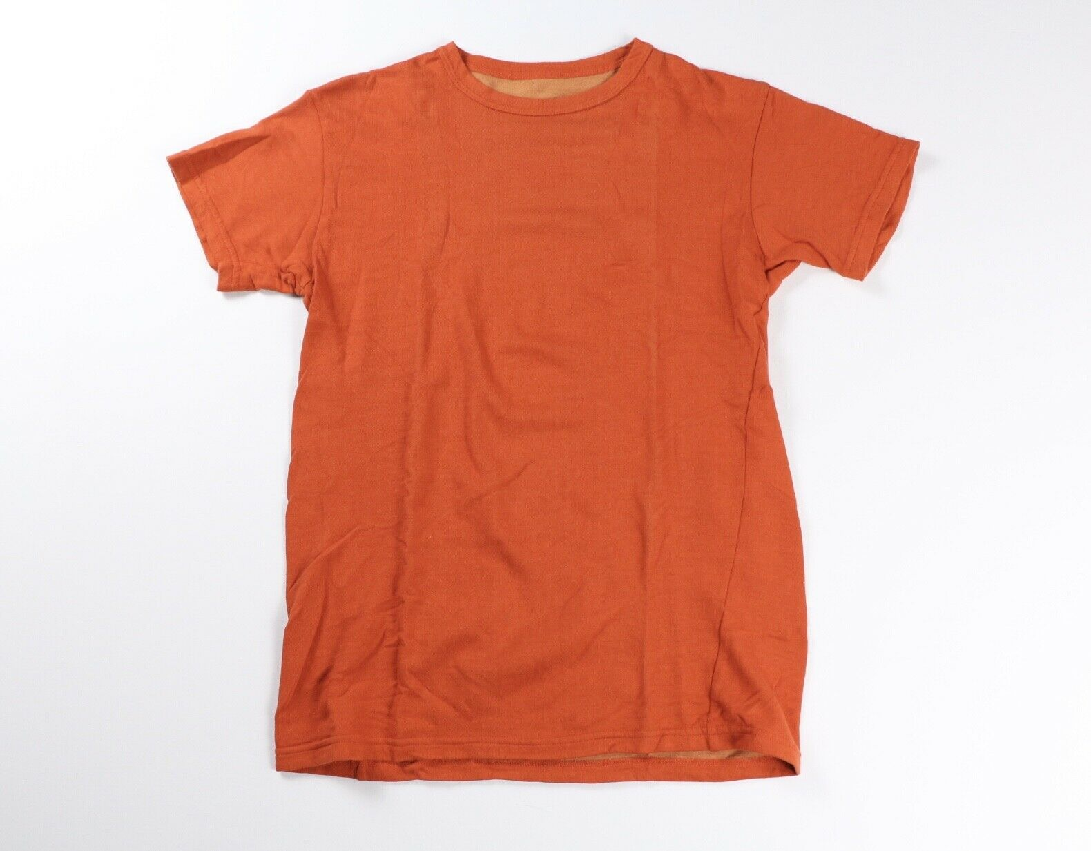 Outlier Mens orange Cotton Weight Merino Wool T Shirt Tee S Small
