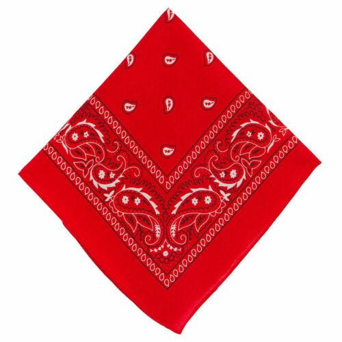 PAISLEY BANDANA RED BLACK OR WHITE COWBOY NECK SCARF HEAD HAIRBAND WRISTBAND
