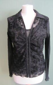 Per-Una-Ladies-Black-Sheer-Patterned-Shirt-Size-16