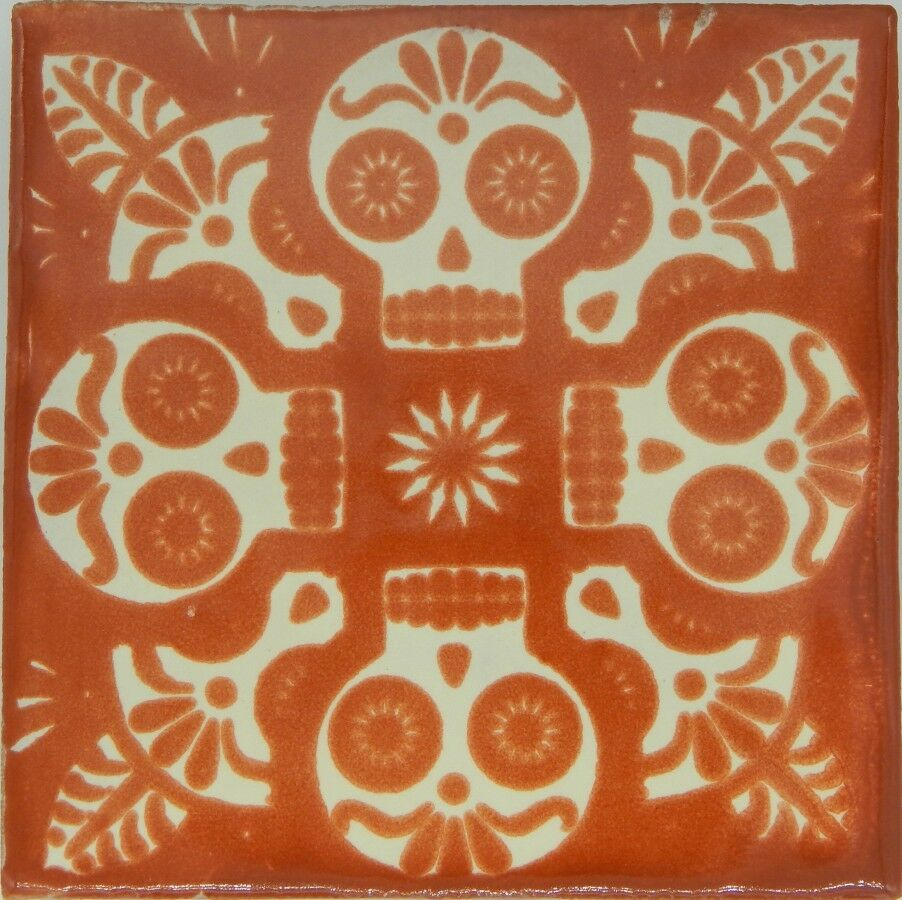 50 Mexican Talavera Decorative Handmade Skull Tiles Folk Art C398 Terracotta