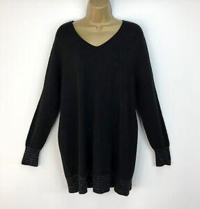 Luxus-Italienische-Alpini-Weicher-Pullover-Langarm-schwarz-glitzernde-Streifen-UK-Groesse-14-16
