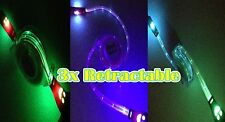 3x/3pcs MiX Retractable LED GLOW Cord Charger Cable for iPhone 5 5c 6 6s 6+ 7 Se