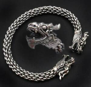 33G-DOUBLE-DRAGON-BRAIDED-925-STERLING-SILVER-MENS-WOMENS-BRACELET-BANGLE-CUFF
