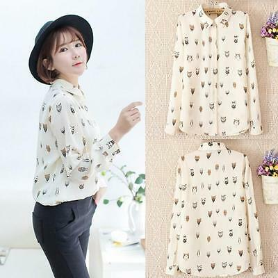 2015 Woman Long Sleeve Blouse Girl Trendy Collar Owl Print Chiffon Top Shirt New