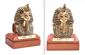 STATUINA-BUSTO-EGYPTIAN-RE-KING-TUT-TUTANKHAMON-GILT-METAL-BUST-WOODEN-BASE