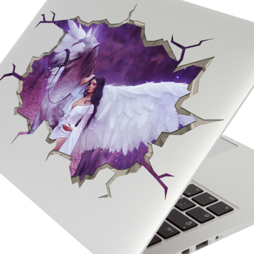 Laptop Stickers Unicorn Wings Girls Fantasy Smashed Decal 3D Art Hole Room S508
