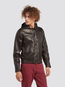 Details about Jacket Men's Jacket Leather Trussardi Hooded Black Colour show original title