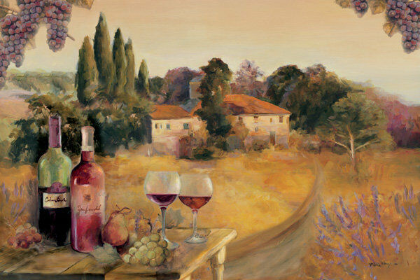 Marilyn Hageman   Spoleto Afternoon tableau prêt 60x90 mural vin Toscane