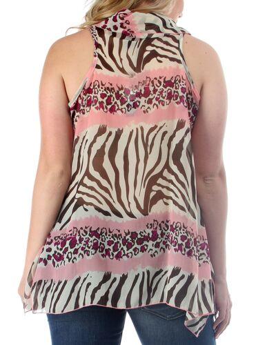 WOMENS PLUS SIZE CLOTHING SHEER PINK ANIMAL PRINT CHIFFON COWL NECK TUNIC TOP