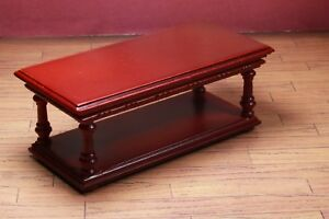 Coffee-Table-Mahogany-MUSEUM-QUALITY-DOLLHOUSE-FURNITURE-1-12-or-1-034-Scale-BESPAQ