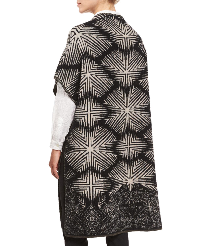 1495 Etro ny Diamond Ikat Paisley öppna -Front Long tröja bildigan Vest Coat S