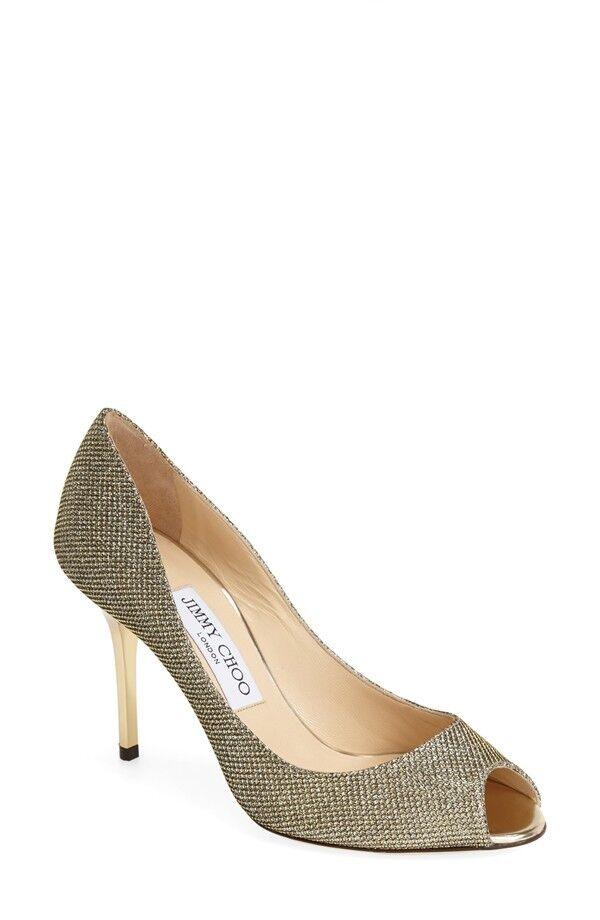 lo stile classico NEW NEW NEW Jimmy Choo EVELYN Light Bronze Glitter Peep Toe Pump scarpe Sz 9.5   39.5  negozio di vendita outlet