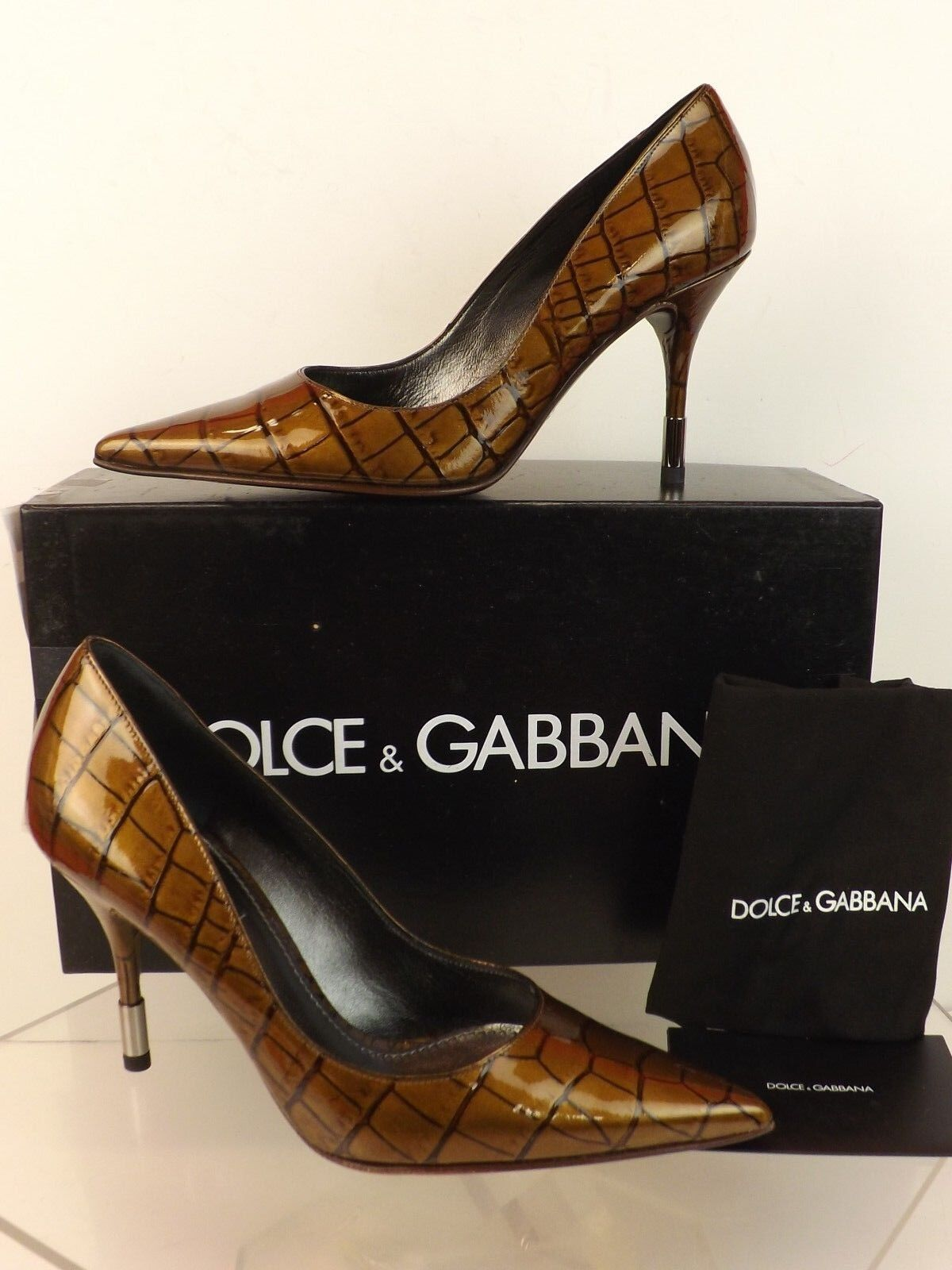 NIB DOLCE LEATHER & GABBANA BRONZE CROCO PRINTED PATENT LEATHER DOLCE  POINTED TOE PUMPS 40 42a336