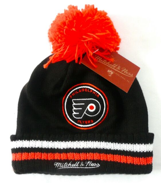 4694a5fc9 Philadelphia Flyers Mitchell & Ness NHL Knit Pom Black Hat Cap Toque Beanie  OSFA