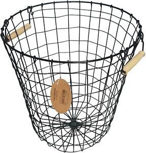 Wire Storage Basket With Wooden Handles