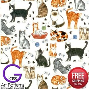 Cat-Fused-Glass-Decal-Ceramic-Waterslide-Fusing-Sheet-8-5-inch-Square-Lead-Free