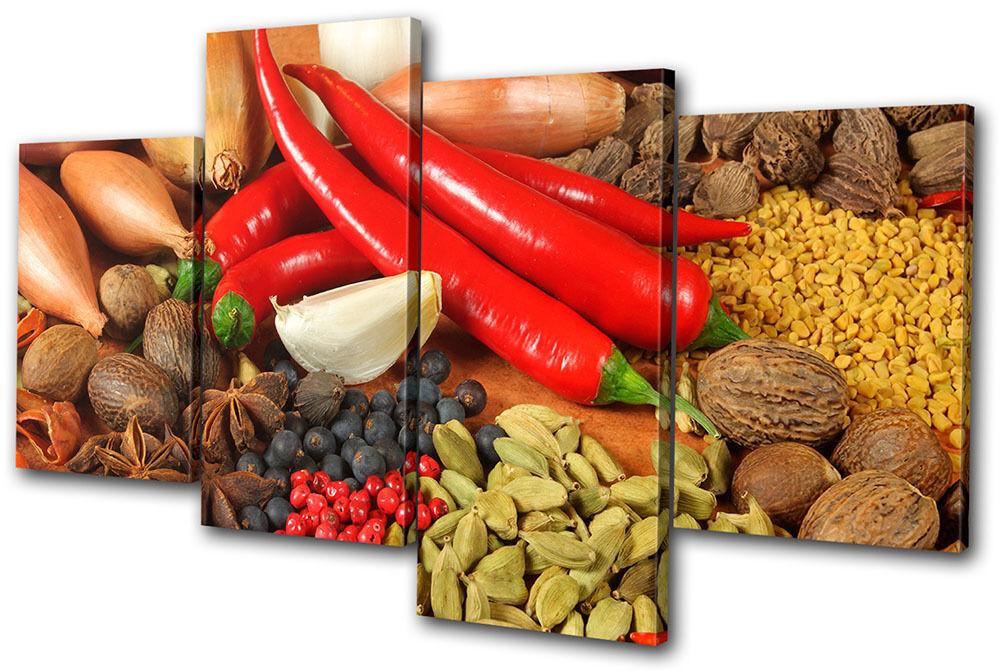 Food Kitchen Spices Peppers MULTI TELA parete arte arte arte foto stampa 21d0ed