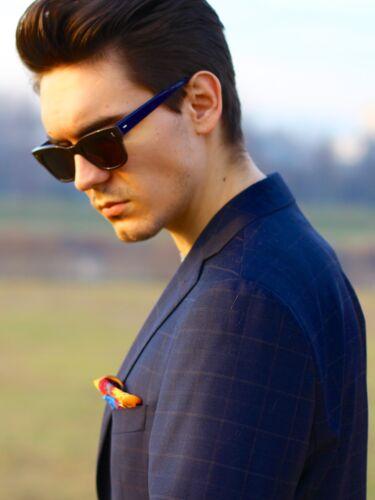 Bnwt fashion nécessité SOIE Paisley Poche Mouchoir Carré Orange Bleu
