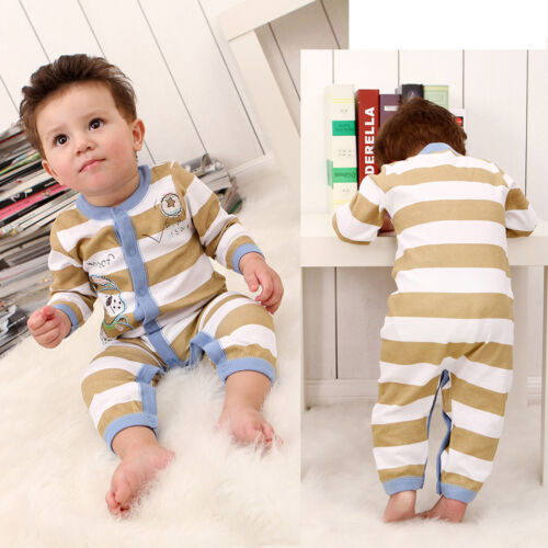 3M// 9M Baby stripes playsuit with happy puppy embroidery 100/% COTTON