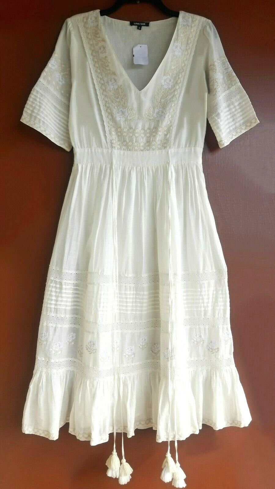 NWT KÄRLEK SAM Ivory Tasseled Embröded Cotton Peasant Midi S Dress Detal  295