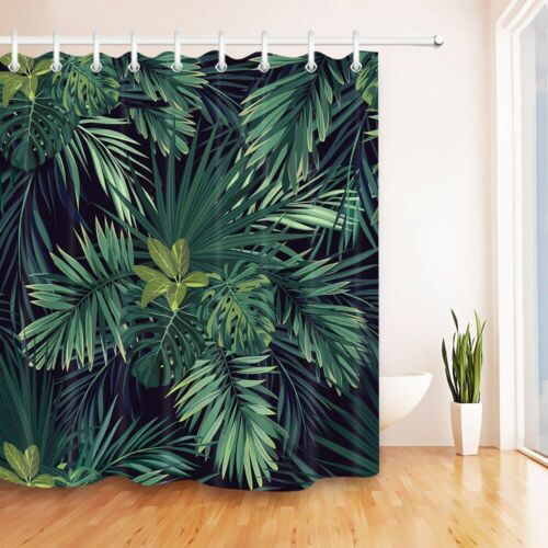 Green palm leaves Shower Curtain Waterproof Fabric with 12 Hooks for Bathroom