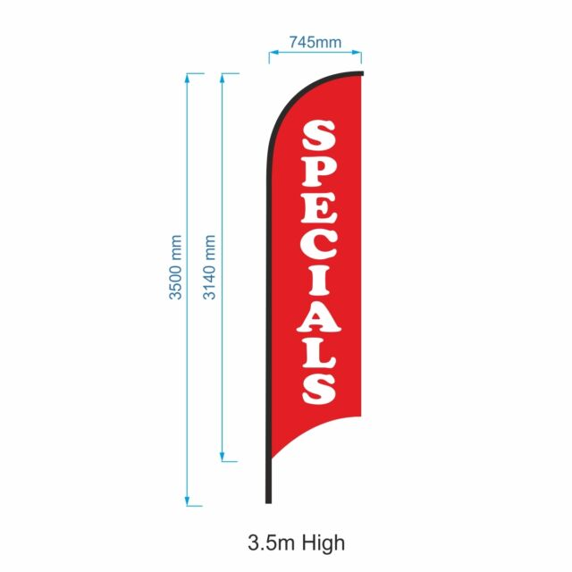 3.5m SPECIALS Flag / Outdoor Advertising Banner(Excl. Pole & Base)-Ready to Ship