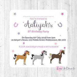 Image Is Loading Personalised INVITATIONS Horses Riding Girl 039 S Birthday