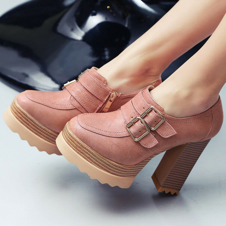 Donna Round Toe Side Zip Chunky Heel Platform Ankle Boots New Buckle Strap Shoes New Boots b2731d