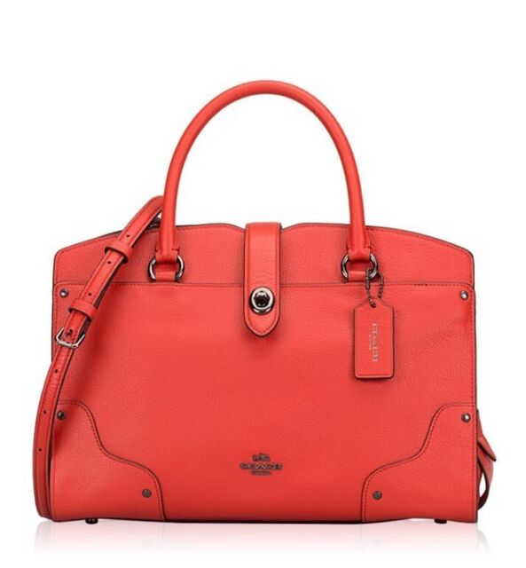 Coach Mercer Satchel 30 in Grain Leather Deep Coral 25019e for sale ... 4b6d9f51eb767