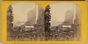 Suisse Cadute Del Staubbach c1865 Foto Stereo Vintage Albumina Pl63L7