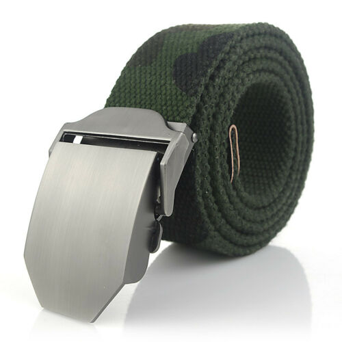 """Solid Canvas Belt Large Buckle Military Style Camouflage 43/"""" 55/"""" Brown Blue"""