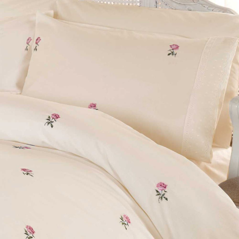 ALICIA FLORAL DOUBLE DUVET COVER SET VINTAGE BEDDING - CREAM & PINK