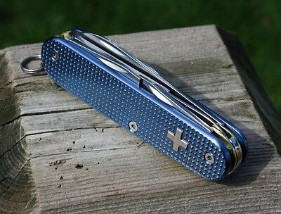 Custom Alox Blue Textured Titanium Super Tinker Swiss Army