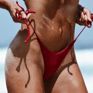 Sexy Bikini Bottom Women Brazilian Cheeky Thong Side-Tie V Swimwear Naughty