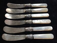 6 Vintage Bigelow and Kennard Butter Spreaders Sterling Mother of Pearl