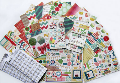 12 x 12  Paper /& Embellishments Set A Party Day Save 60/% Crate Paper