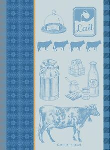 Garnier-Thiebaut-Jacquard-Dish-Towel-French-LA-VACHE-et-LE-LAIT-Milk-Cheese-New