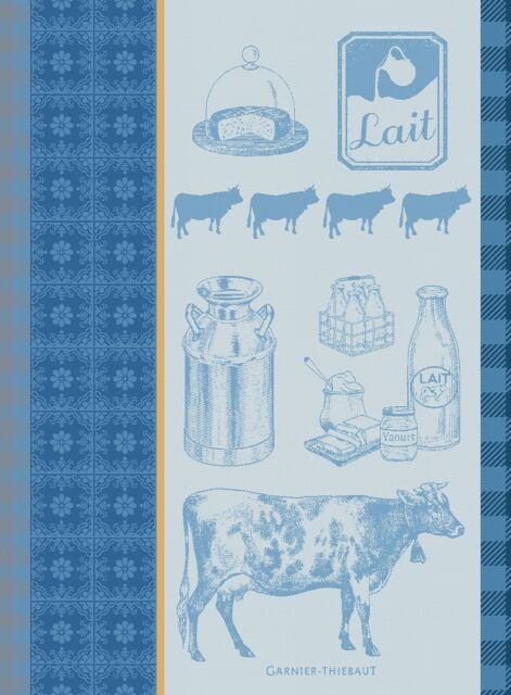 Garnier Thiebaut Jacquard Dish Towel French LA VACHE et LE LAIT Milk Cheese New