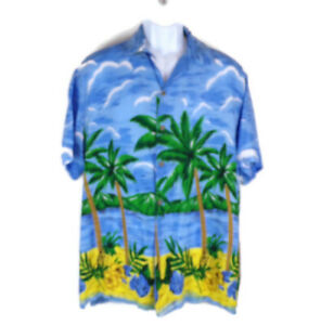 Men-039-s-Hawaiian-Shirt-L-Palm-Trees-Short-Sleeves-Button-Up