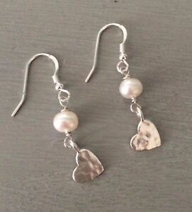 06f527701af Image is loading DESIGNER-STERLING-SILVER-FRESHWATER-PEARL-EARRINGS -WITH-HAMMERED-