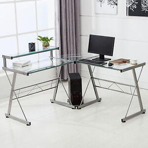 l shape corner computer desk pc glass laptop table workstation home office clear 709202326221 ebay. Black Bedroom Furniture Sets. Home Design Ideas