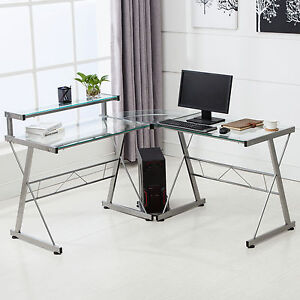 l-shape corner computer desk pc glass laptop table workstation