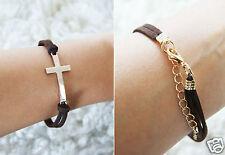 Lederarmband Armband Kreuz Schmuck Mode Blogger Braun Gold Leder Vintage