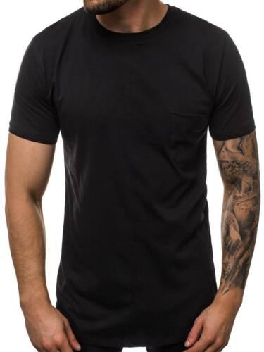 T-Shirt Kurzarm U-Neck Slim Fit Fitness Basic Unifarben Herren OZONEE MR//19101
