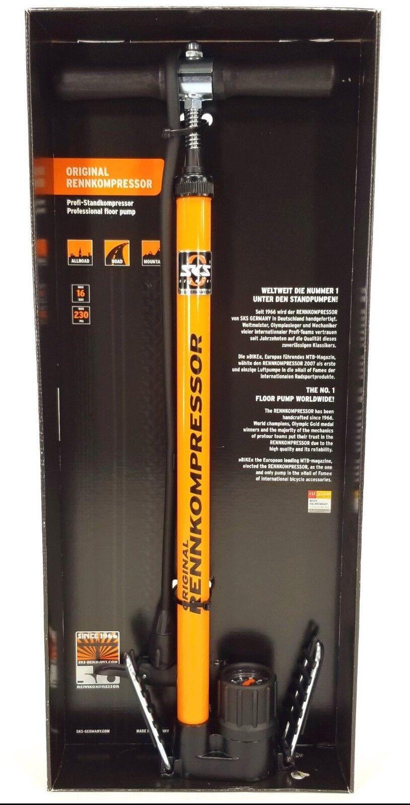 SKS Bicycle RENNKOMPRESSOR FLOOR PUMP orange w  Gauge Presta Schrader 230 psi