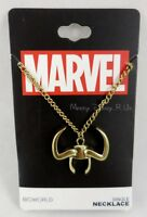 Marvel The Avengers Loki Horn Single Pendant Necklace Gold Tone Chain